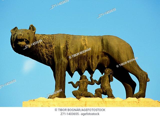 Italy, Lazio, Rome, Romulus, Remus, the she-wolf, statue