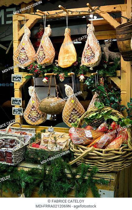 France - Rhone-Alpes - Haute-Savoie - Montriond - Salted ham in a shop