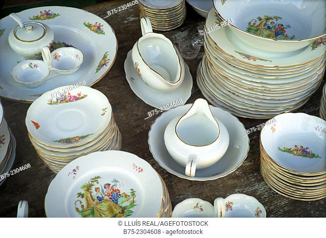 Close up of pieces of classical porcelain tableware, at a street market in Yafo, Old Jaffa, Tel Aviv, Israel, Middle East