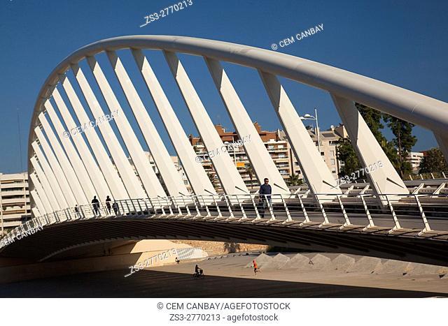 People walking on the Pont de L'Exposicion' La Peineta' or 'Alameda Bridge' by Santiago Calatrava, in Jardi del Turia gardens, Valencia, Spain, Europe