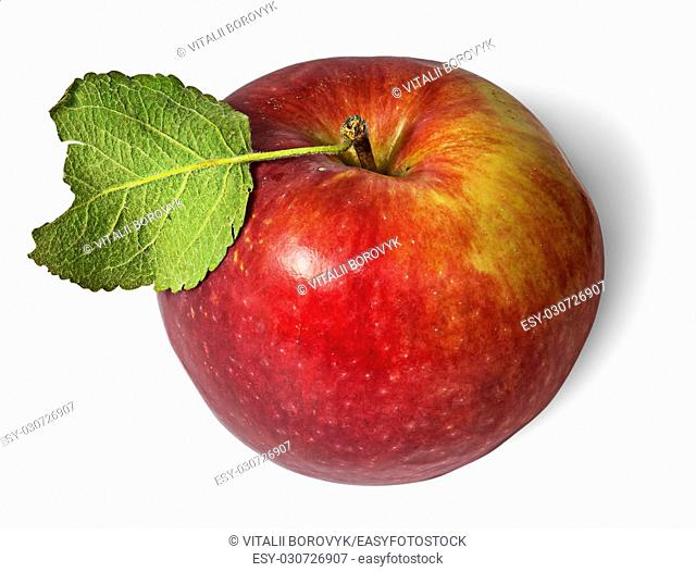 Red ripe apple with green leaf top view isolated on white background