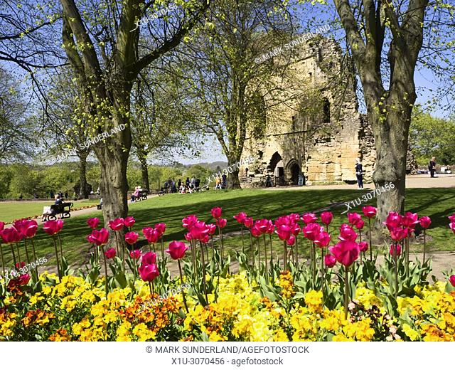 The Kings Tower at Knaresborough Castle in Spring Knaresborough North Yorkshire England