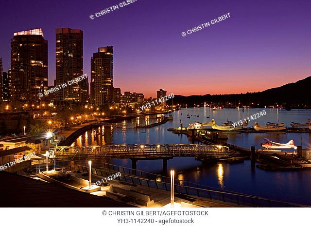 Downtown Vancouver harbor at night, British Columbia, Canada
