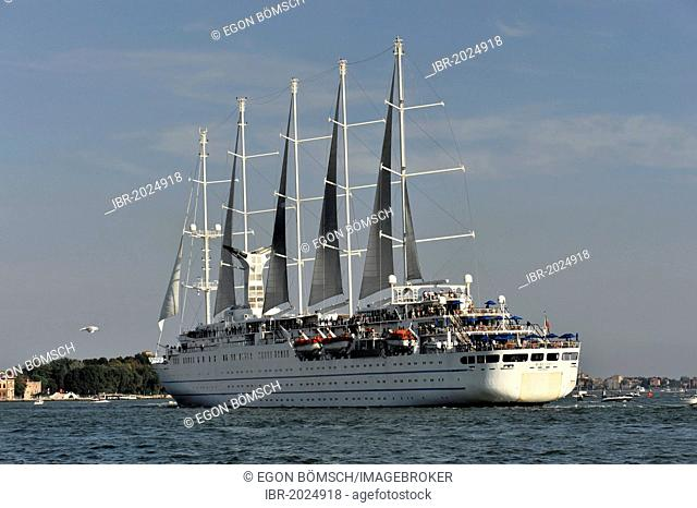 Cruise ship, Wind Surf, built in 1990, 188m, 312 passengers, during departure, Venice, Veneto, Italy, Europe