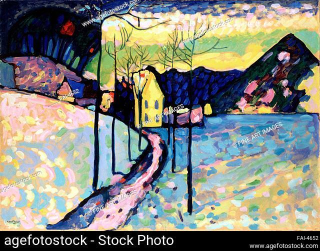 Winter landscape. Kandinsky, Wassily Vasilyevich (1866-1944). Oil on cardboard. Expressionism. 1909. State Hermitage, St. Petersburg. 75, 5x97, 5