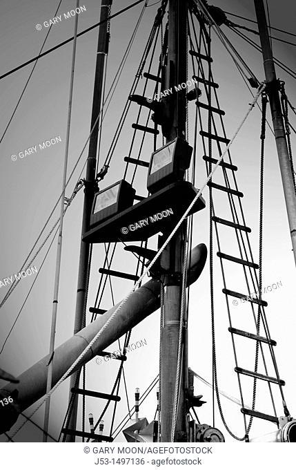 Rigging on commercial fishing boat, Charleston, Oregon