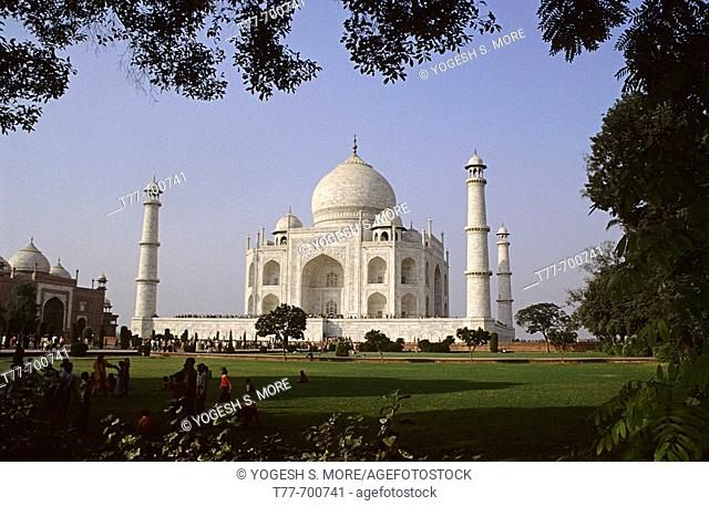 Taj Mahal, one of the seven wonders of the world. Taj Mahal, This ethereal monument was built by Emperor Shah Jahan in memory of his beautiful wife Mumtaz