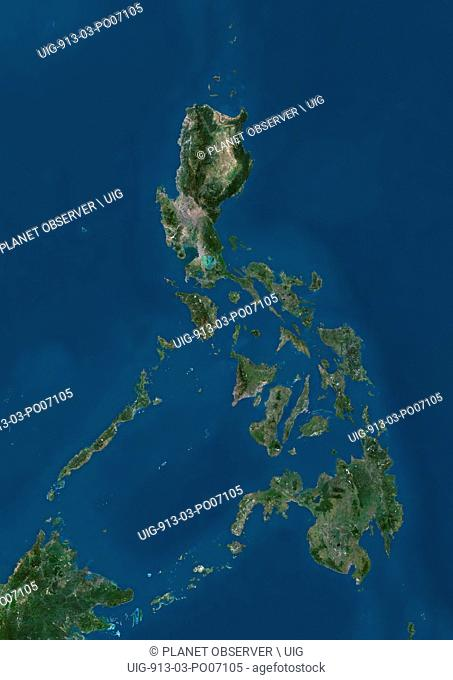 Satellite view of the Philippines. This image was compiled from data acquired by Landsat satellites