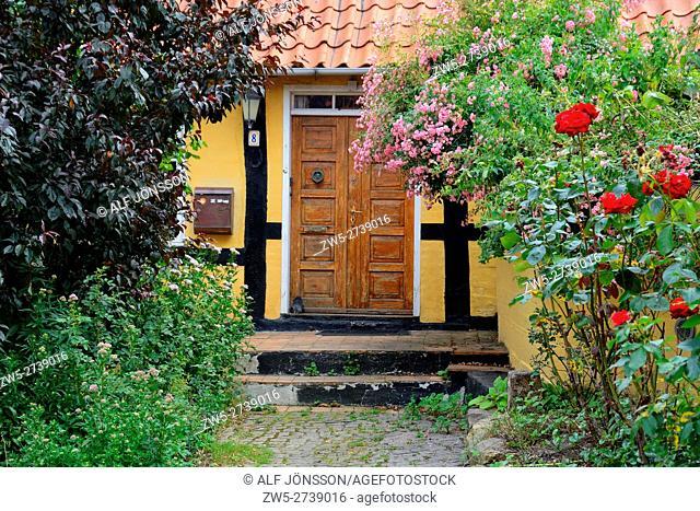 Entrance among flowers in Gudhjem, Bornholm, Denmark