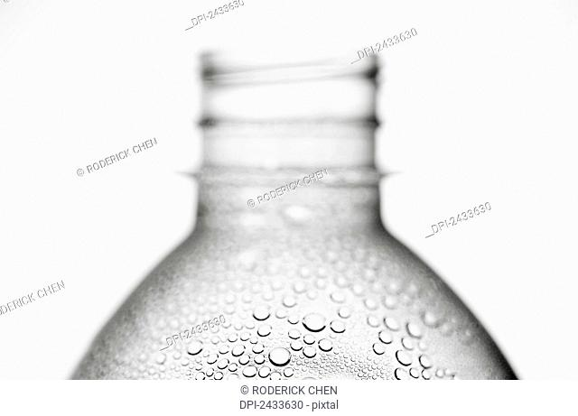 Water condensation on a plastic bottle