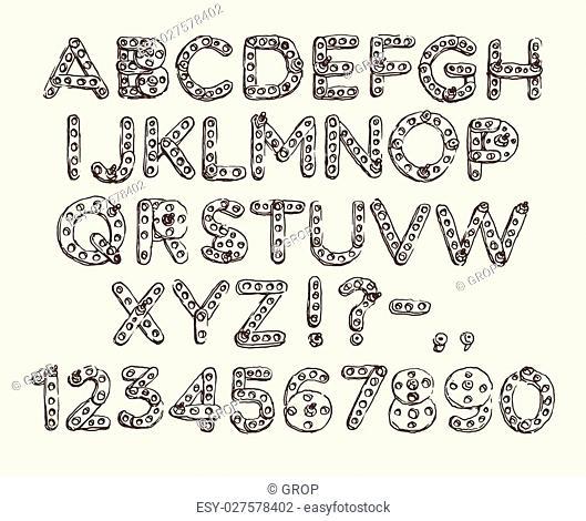Mechanical meccano cartoon robot font type engraved vector hand draw
