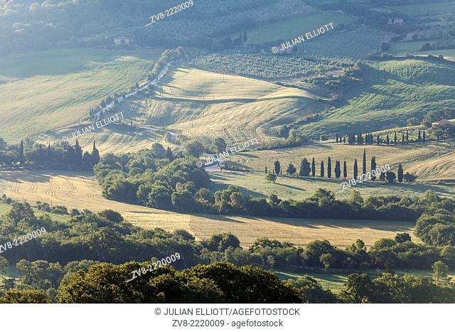 The Val d'Orcia in the heartland of Tuscany. It has been protected by UNESCO as a World Heritage Site. The landscape's distinctive aesthetics
