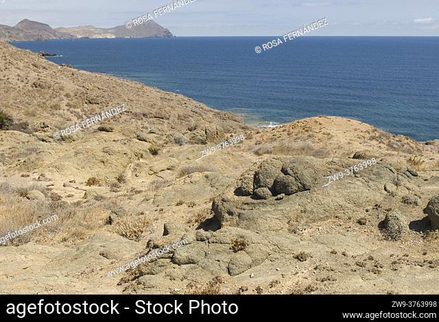 Los Escullos Coast, formed by fossil dunes with oolitos rocks, Nijar, Cabo de Gata Natural Park, Almeria, Andalucia, Spain