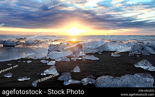 Sunset at Jokulsarlon Iceberg Beach Iceland Near the Glacier lagoon
