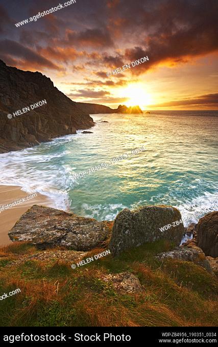 UK - England Cornwall Porthcurno Coastal scenery at sunrise Europe European England English Great Britain British UK Cornish West Country Coast Coastal Beaches...