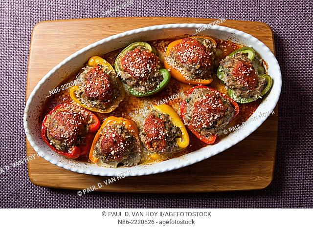 meatball stuffed peppers with parmesan