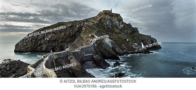 San Juan de Gaztelugatxe, a small island connected with a bridge. Basque Country