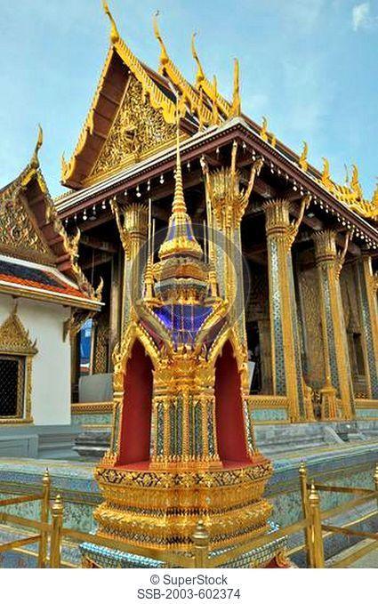 Architectural detail of a temple, Wat Phra Kaeo, Grand Palace, Bangkok, Thailand