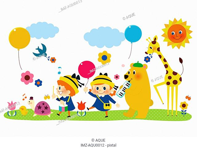 A group of children and animals playing