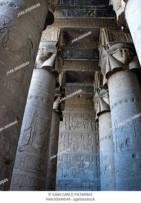 Egypt, Dendera, Ptolemaic temple of the goddess Hathor.View of hypostyle hall