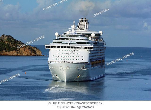 Cruise ship entering the Port of St. John's, Antigua island, Antigua and Barbuda, Caribbean