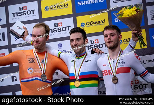 29 February 2020, Berlin: Cycling/track: Omnium, men, award ceremony: Benjamin Thomas from France (M), winner of the gold medal