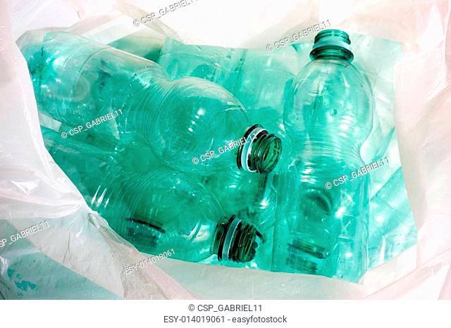 Green plastic bottles