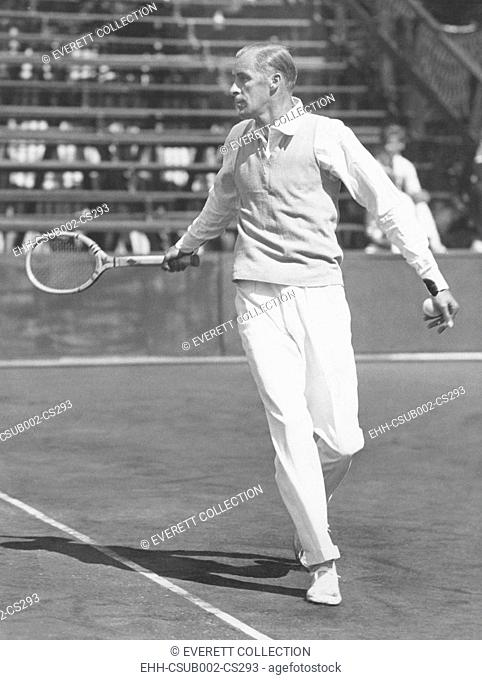 Bill Tilden, at the opening of the U.S. Pro Tennis Championship Tournament. South Shore Country Club, Chicago. July 28, 1932