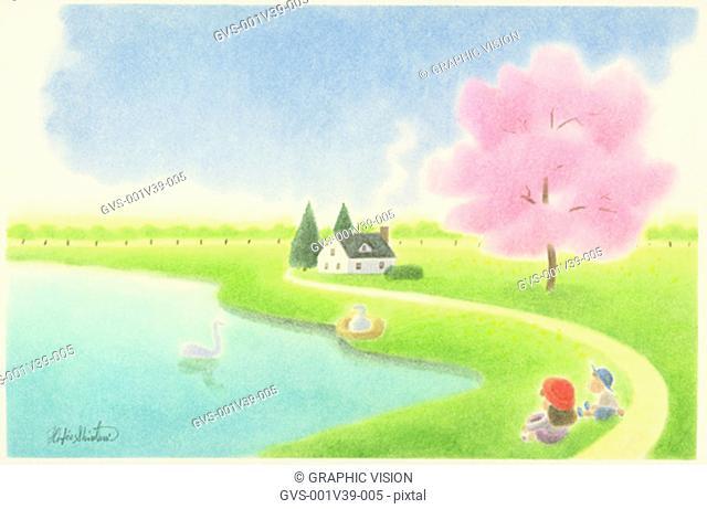 Illustration of Two Children Sitting Beside a Lake