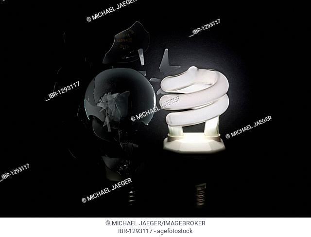Energy saving lamp vs. light bulb