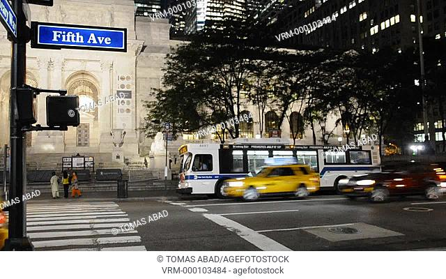 MTA public transportation bus, 42nd Street & 5th Avenue, Next to New York Public Library, New York City, USA