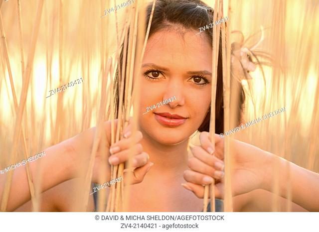 Portrait of a good looking young woman in the reeds at sunset in early spring