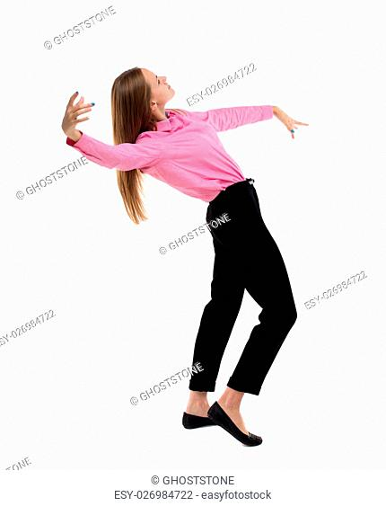 Balancing young business woman. or dodge falling woman. Rear view people collection. backside view of person. Isolated over white background