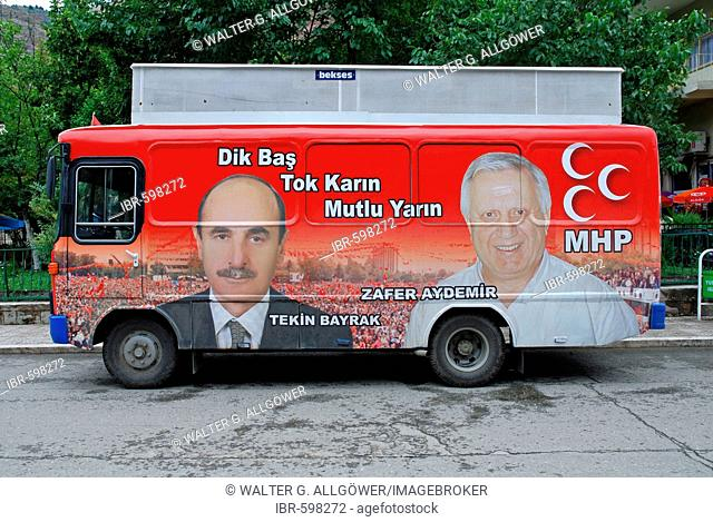 Election advertisements, candidates of the right wing MHP, Urfa, Anatolia, Turkey