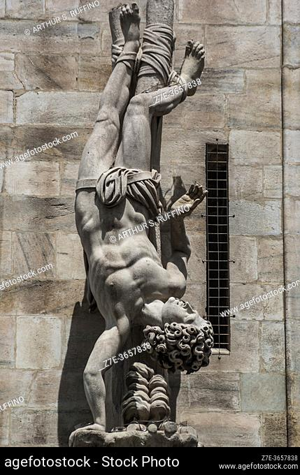 Telephoto of sculpture on exterior of Milan Cathedral (Duomo di Milano). Piazza del Duomo, Milan, Lombardy, Italy, Europe