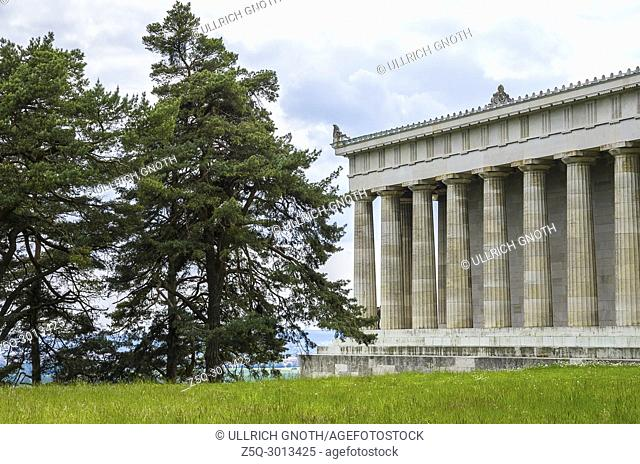 Walhalla Hall of Fame in Donaustauf at the Danube River near Regensburg, Bavaria, Germany, view from Northeast