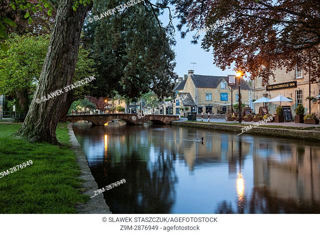 Dawn in Bourton-on-the-Water, a Cotswold village in Gloucestershire, England