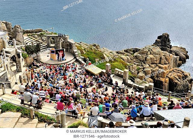 Minack Theatre, amphitheater at Porthcurno, south coast of Cornwall, England, UK, Europe