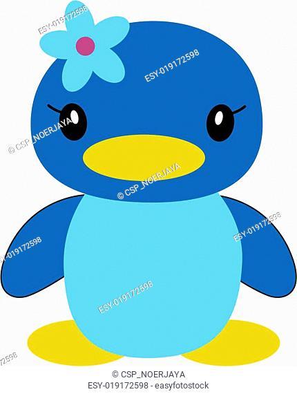 blue duck wearing tape flowers