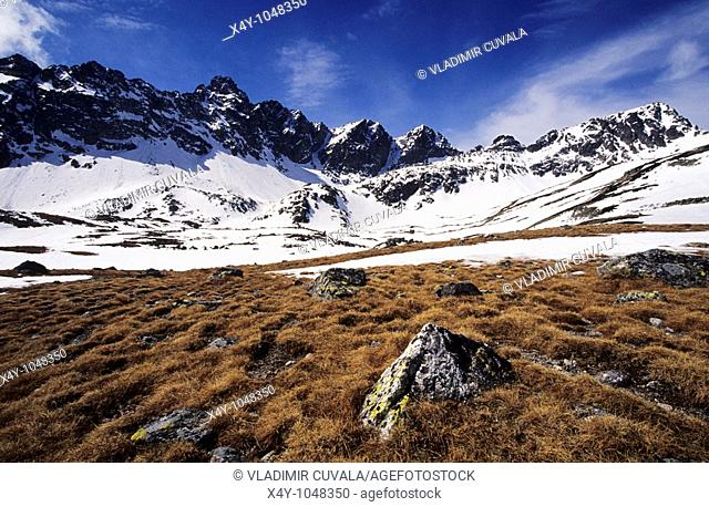 The winter scenery in Velka Studena dolina, High Tatras
