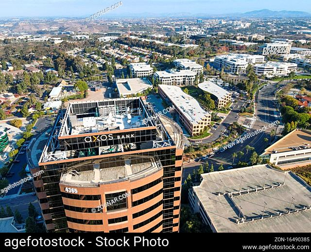 Aerial view of business office building in University City large residential and commercial district, San Diego, California, USA. December 1st, 2020