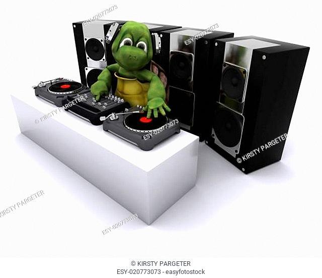 tortoise DJ mixing records on turntables
