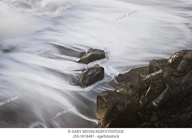 Shoreline detail, Pacific Ocean, view from above, Bluffs Overlook