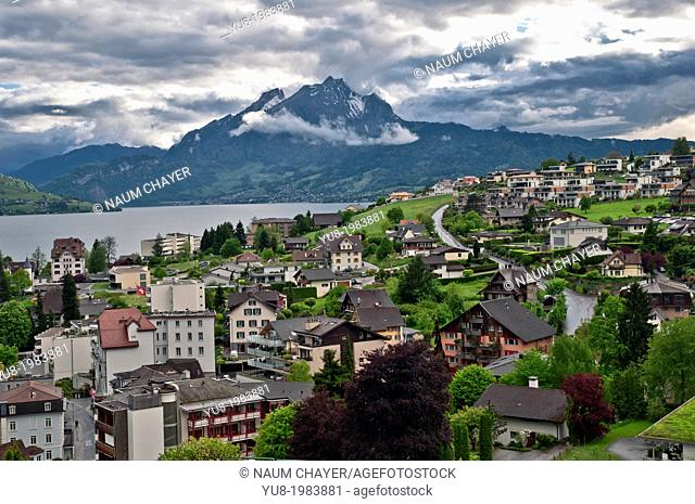 Weggis and Alps with cloudy sky, Switzerland, federal republic, Western Europe