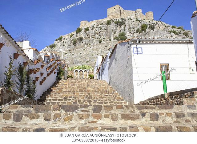 High rocky hill with Castle of Belmez, Cordoba, Spain. View from town streets. Rafael Canalejo staircase