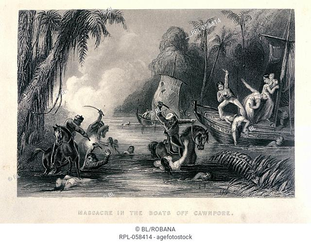 Massacre in the Boats off Cawnpore. Image taken from The history of the Indian Mutiny. Originally published/produced in London