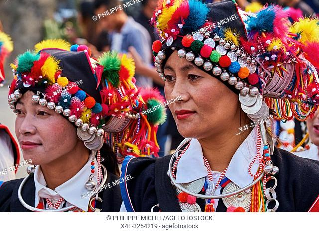 China, Yunnan, Xishuangbanna district, women festival in the Hani ethnic group village