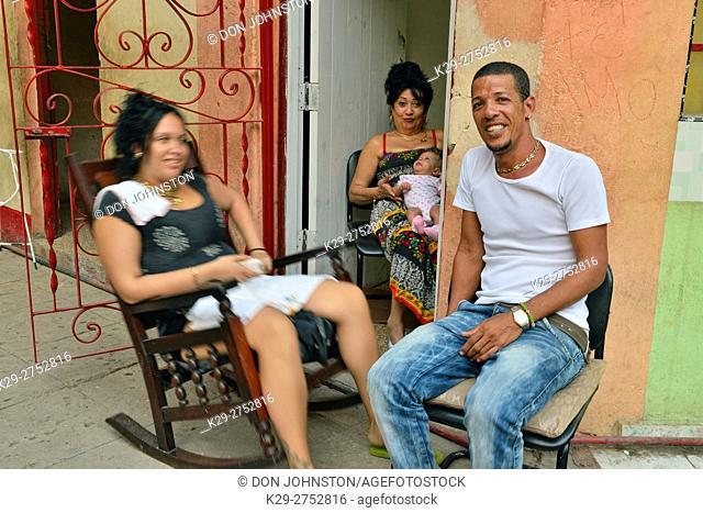 Street photography in central Havana- Three generations of residents, La Habana (Havana), Habana, Cuba