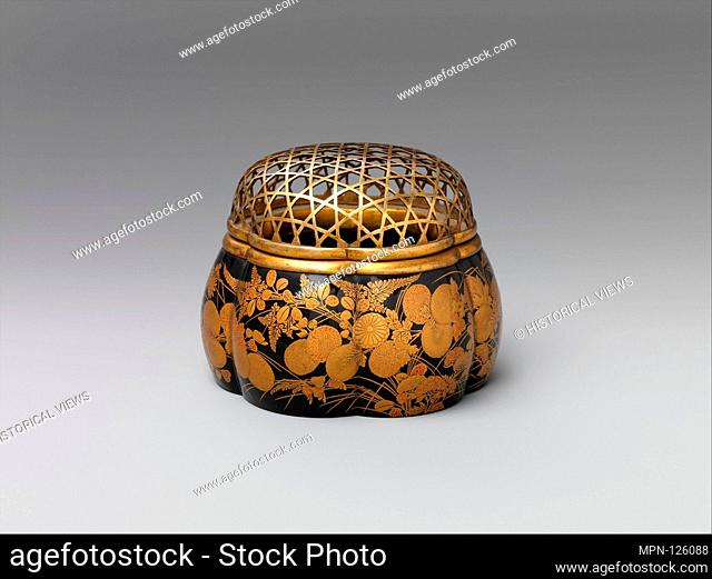 Incense Burner in the Shape of a Melon with Autumn Flowers and Grasses. Period: Edo period (1615-1868); Date: early 17th century; Culture: Japan; Medium:...