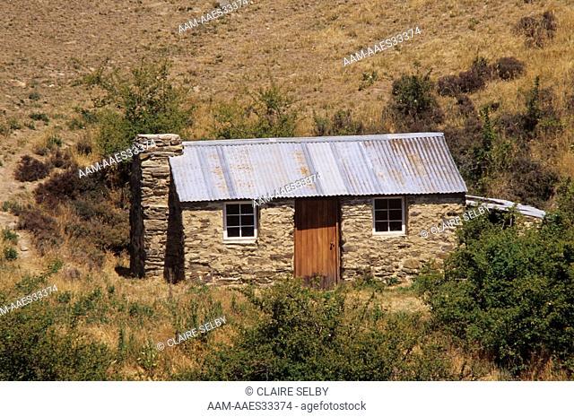 Restored former Gold Miner's Stone Cottage, Ophir, C. Otago, New Zealand